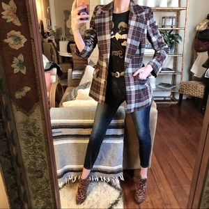 Vintage wool blend plaid blazer